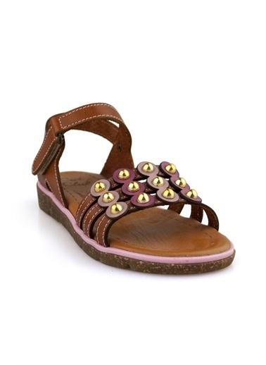Cicibebe Deri Kız Çocuk Sandalet Taba